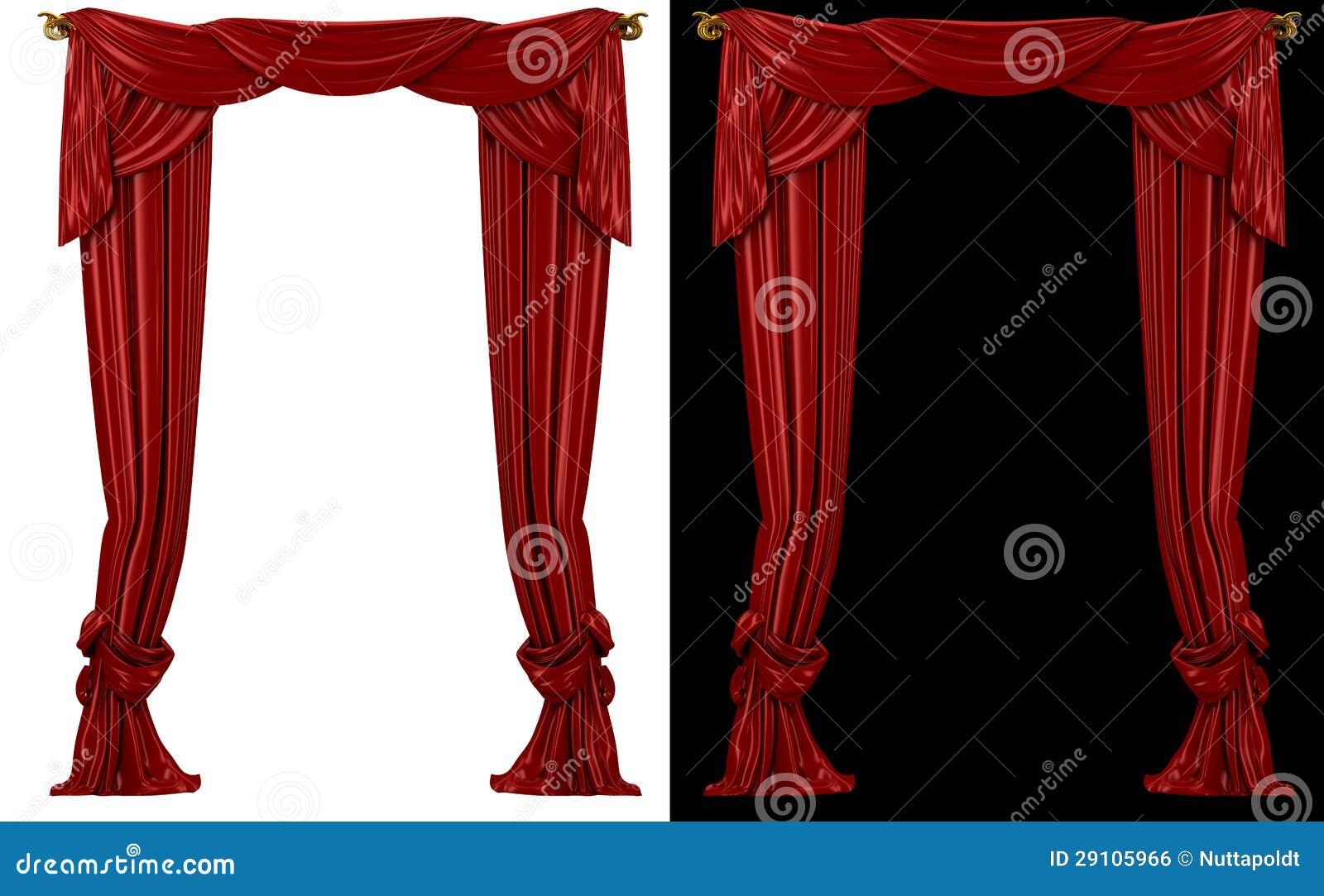 Cortinas rojas en un fondo blanco y negro imagen de - Cortinas en blanco y negro ...