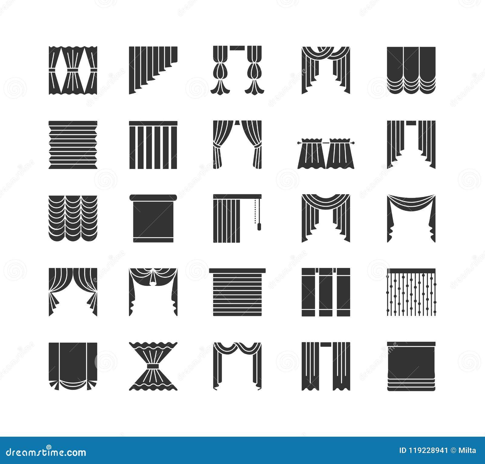 Cortinas y persianas La ventana cubre Colección plana del icono Aislado