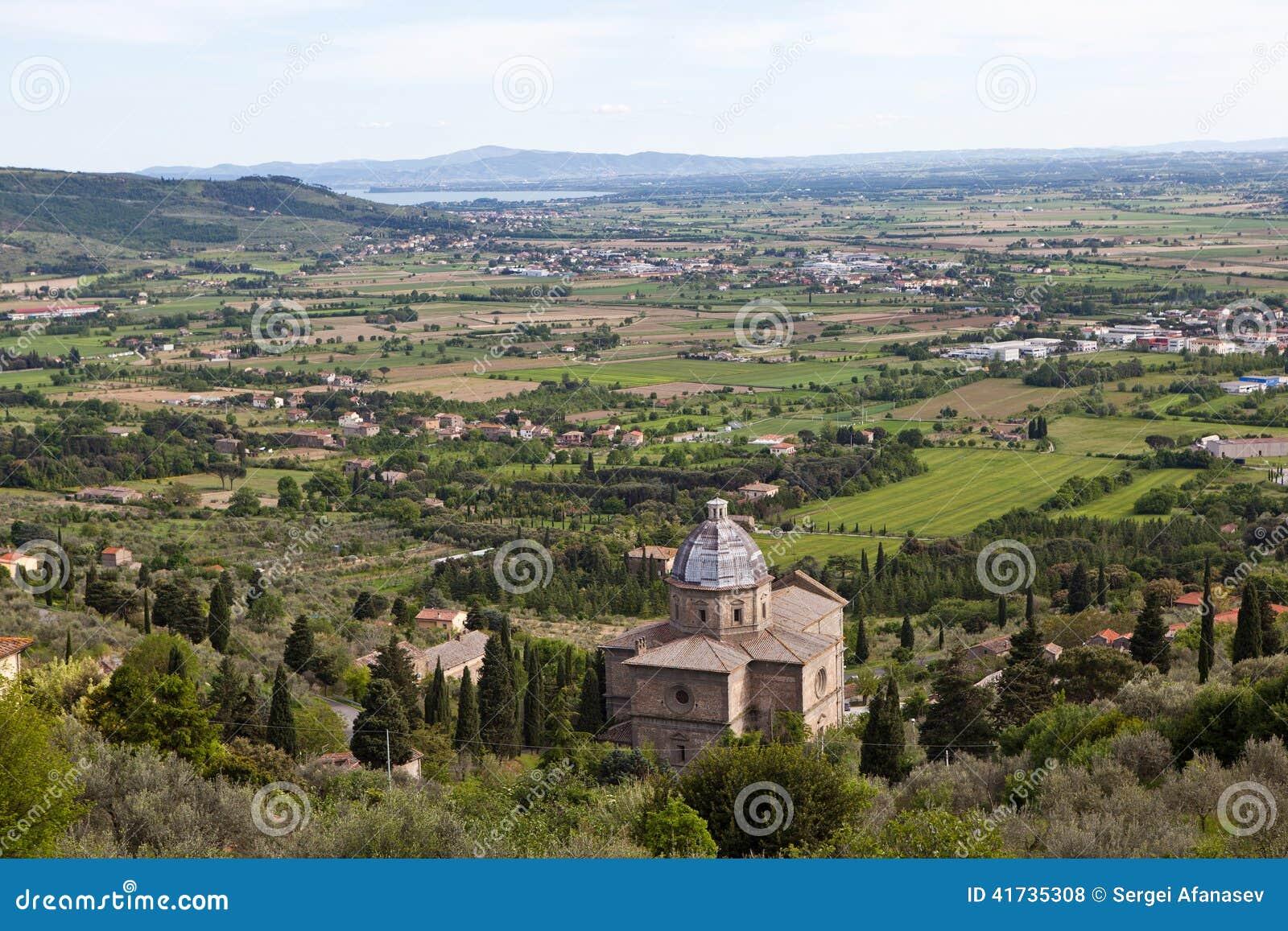 Cortona Italien Umbrian-Landschaft