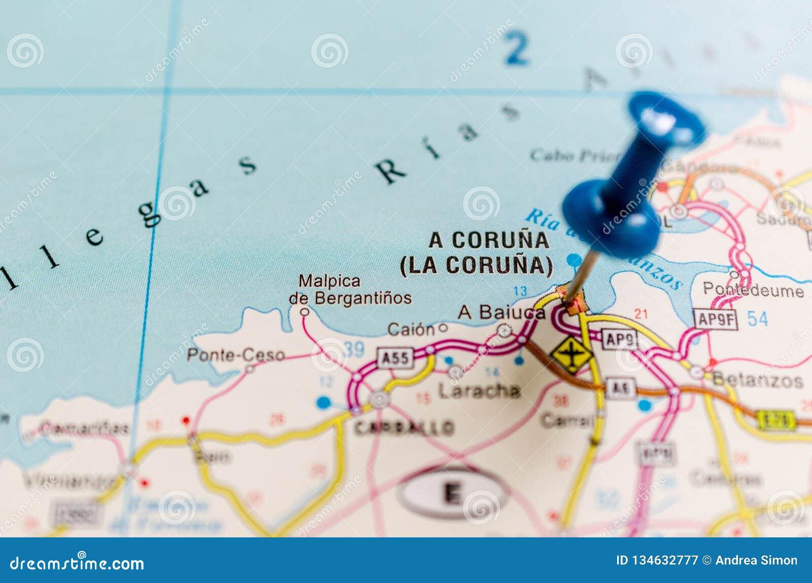 Map Of Spain La Coruna.A Coruna On Map Stock Image Image Of Corun Community 134632777