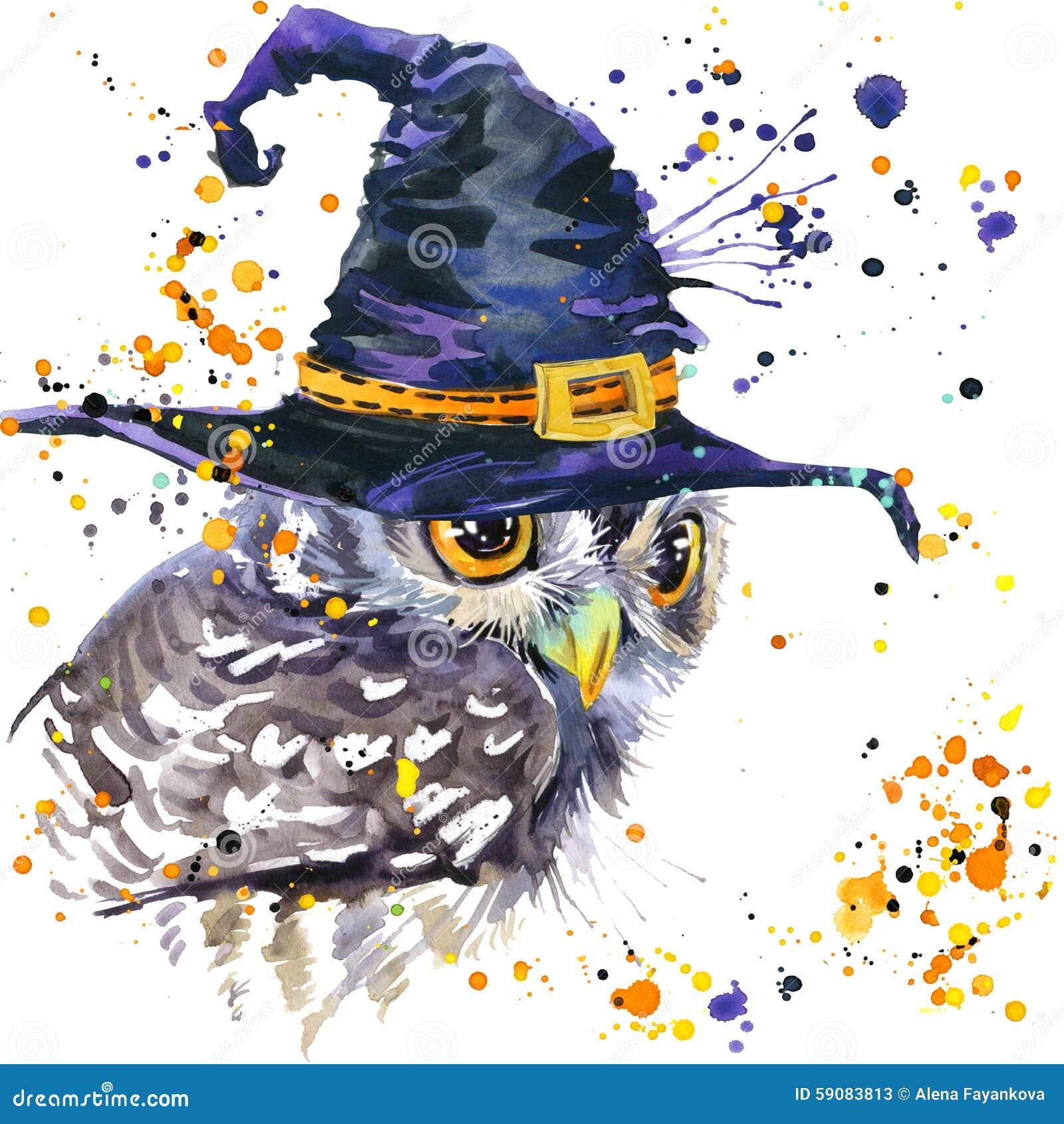 eb24001224 Coruja de Dia das Bruxas e chapéu da bruxa fundo da ilustração da aquarela