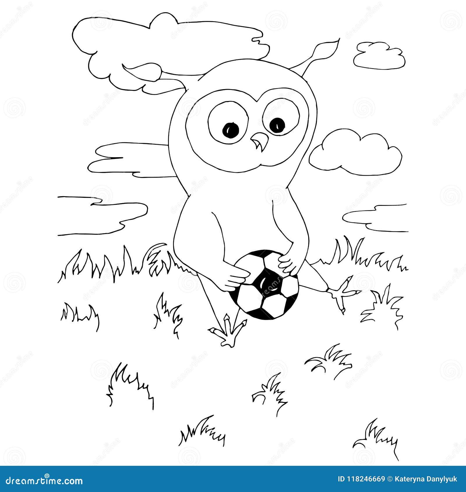 Coruja Dos Desenhos Animados Com A Bola De Futebol Que Senta Se Na