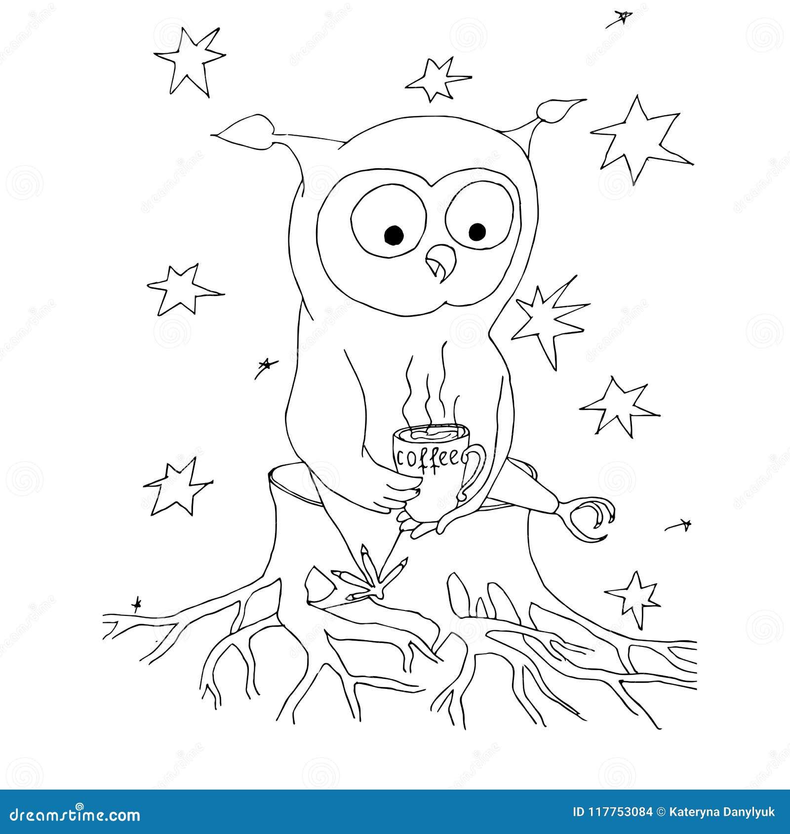Coruja Dos Desenhos Animados Com Xicara De Cafe Estrelas Mao