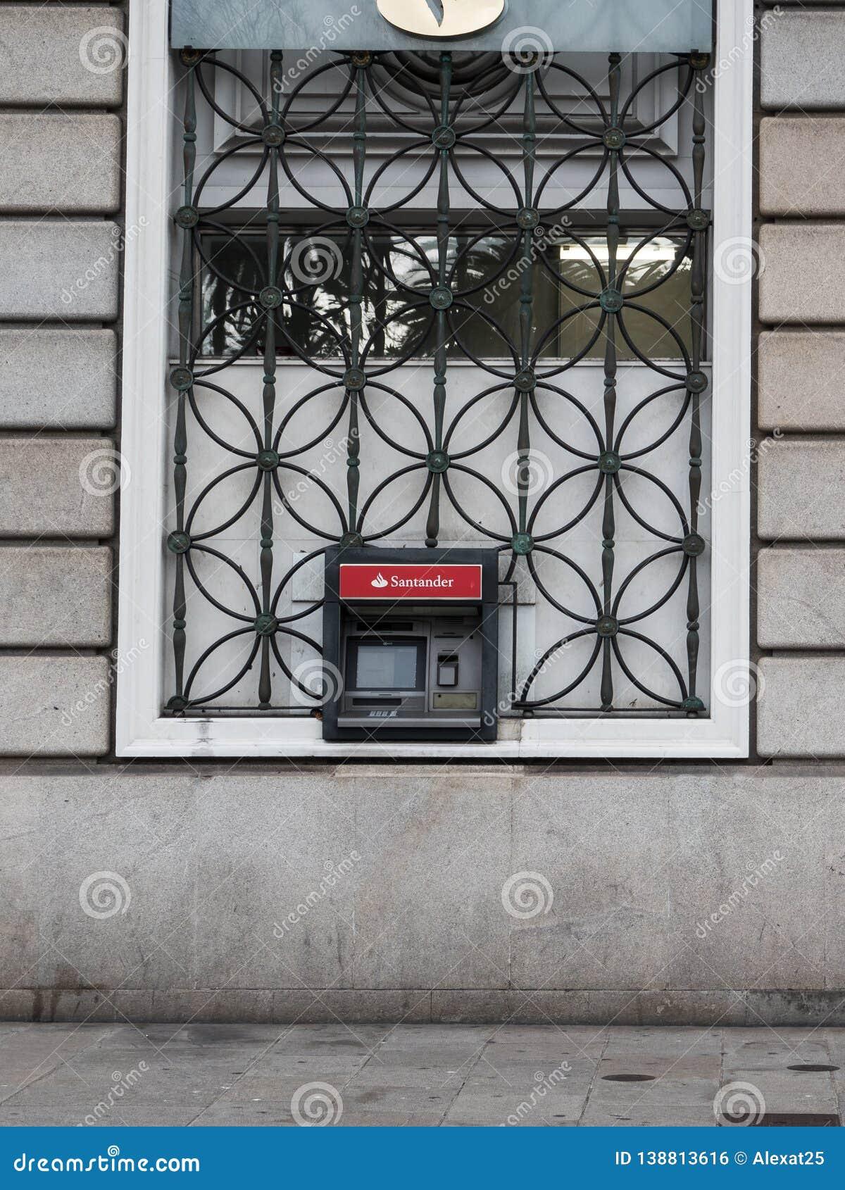 A Coruna, Spain - ATM Of Santander Bank In The Street