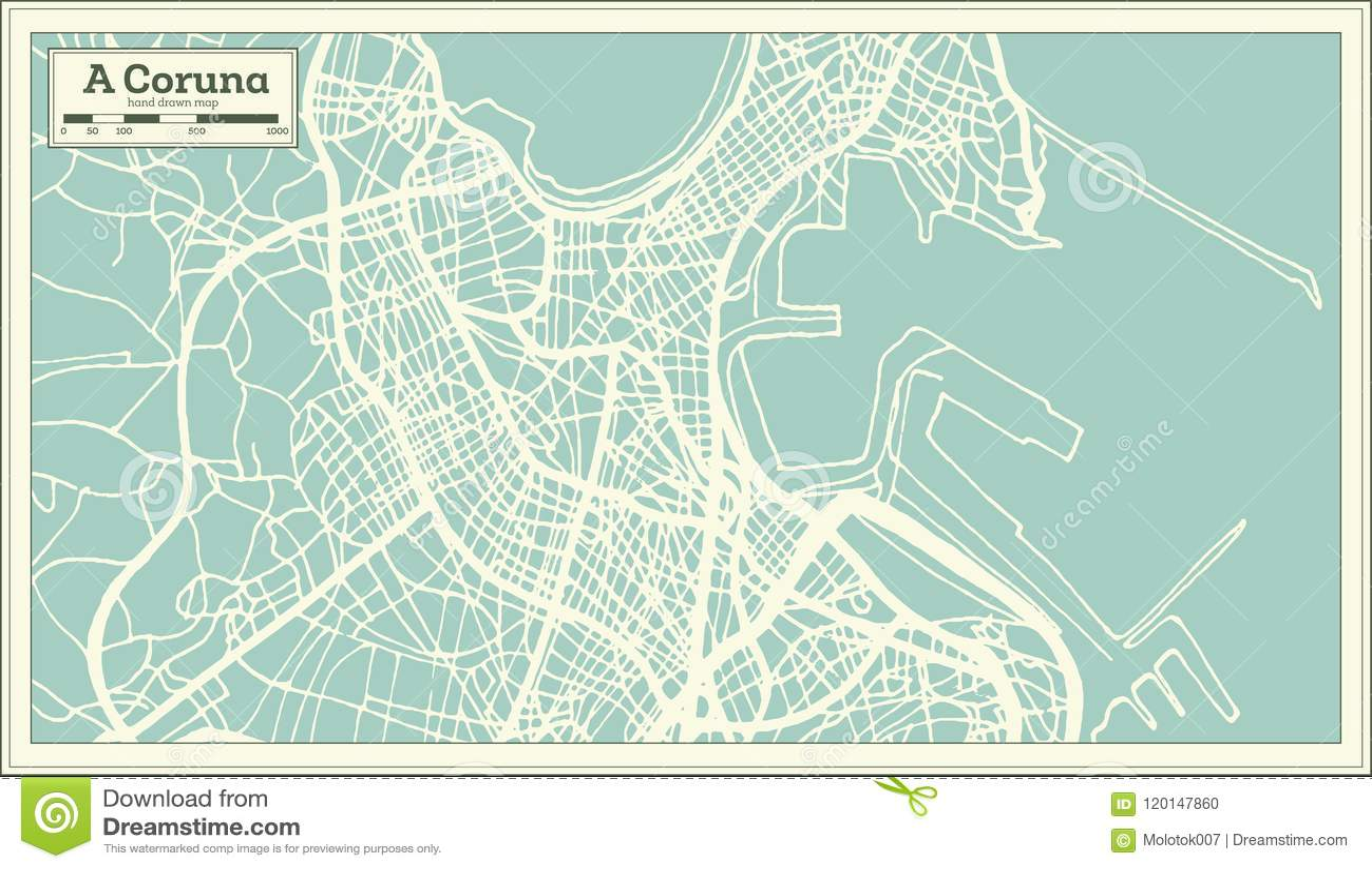 Map Of Spain La Coruna.A Coruna Spain City Map In Retro Style Outline Map Stock Vector