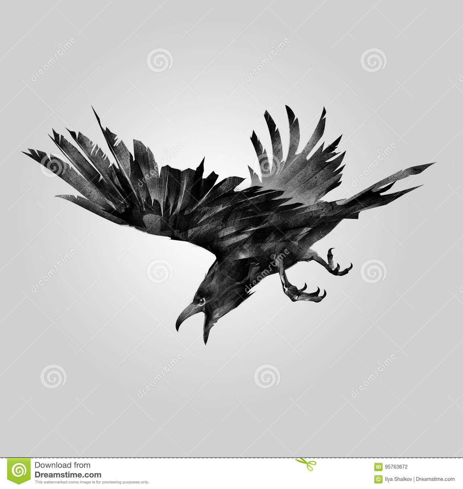 Corvo de ataque tirado do pássaro