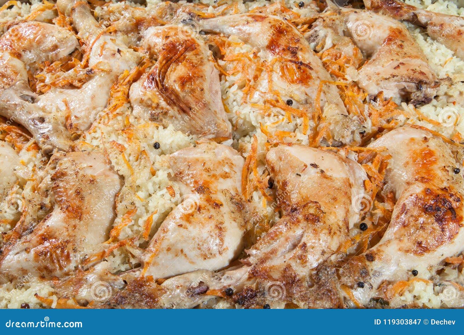 Coscie di pollo con riso e le carote