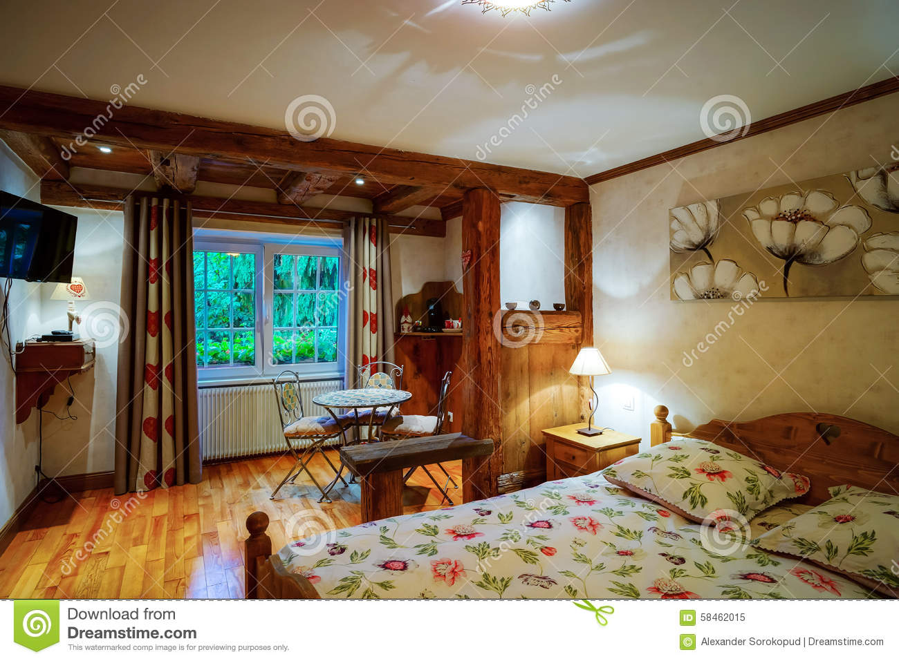 Cosiness wooden apartment interior, alsacien classic style