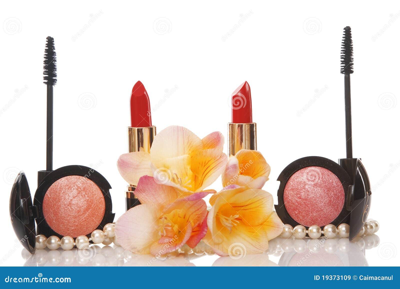 Cosméticos e flor, conceito da beleza