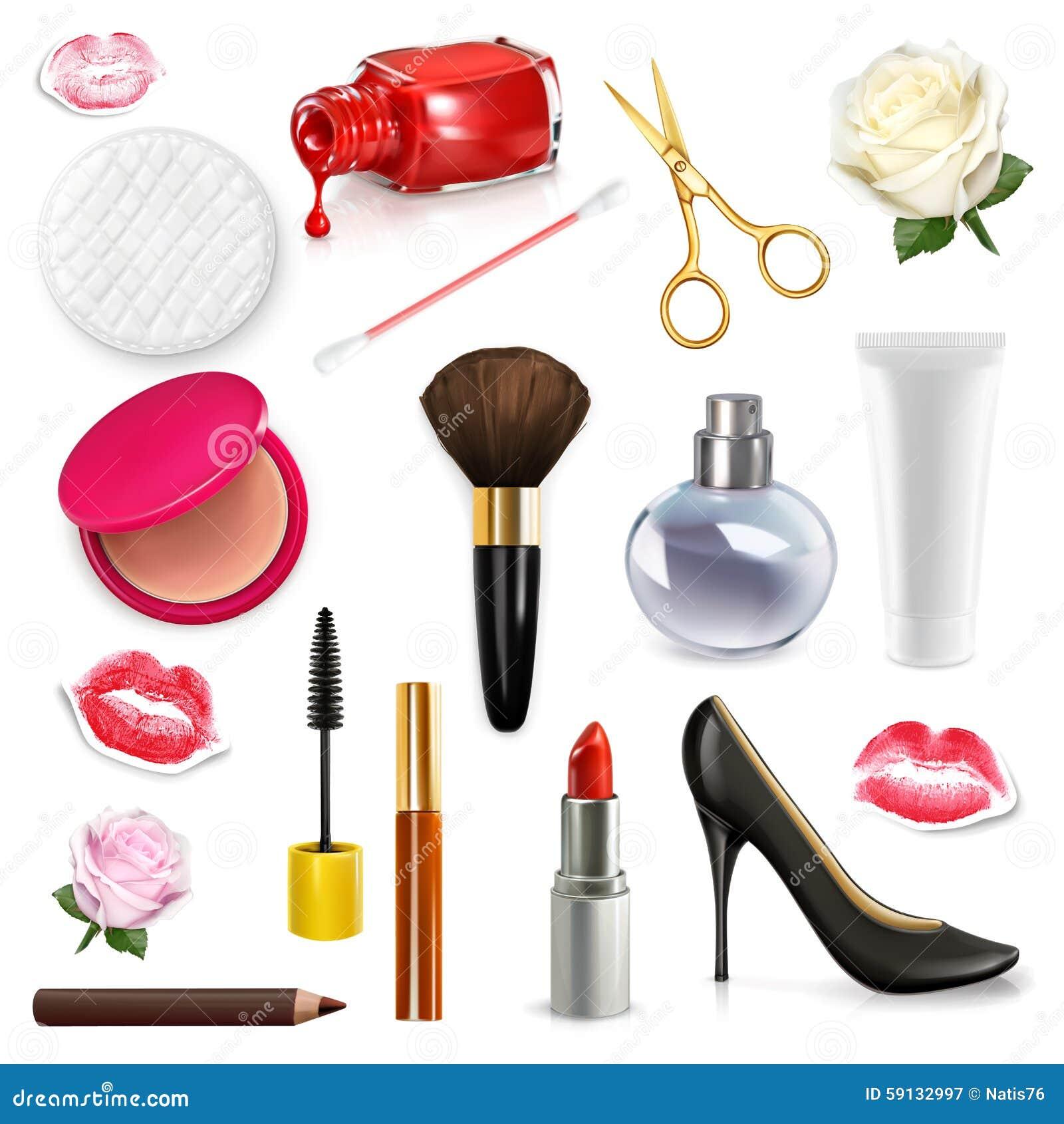 ba7b0dbce Cosméticos para mujer y accesorios, brote color de rosa, zapatos del tacón  alto, sistema del ejemplo del vector aislado en el fondo blanco