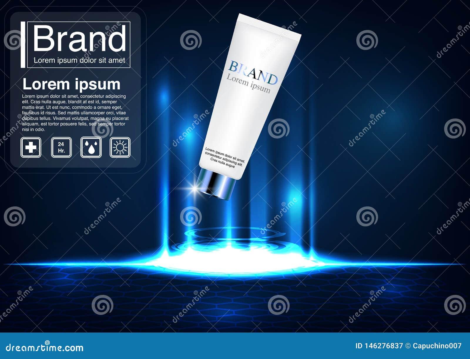 Cosmetic Ad Concept Luxury Facial Foam Mockup Stock Vector
