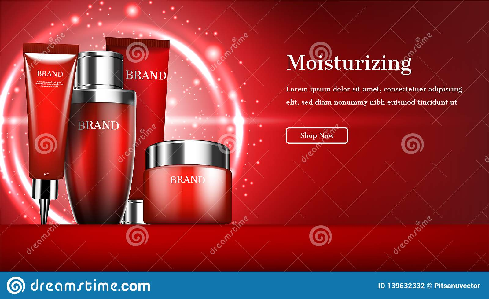 Cosmetic Banner Skincare Set With Glowing Circle Lights On Red Background Stock Vector Illustration Of Premium Cosmetics 139632332
