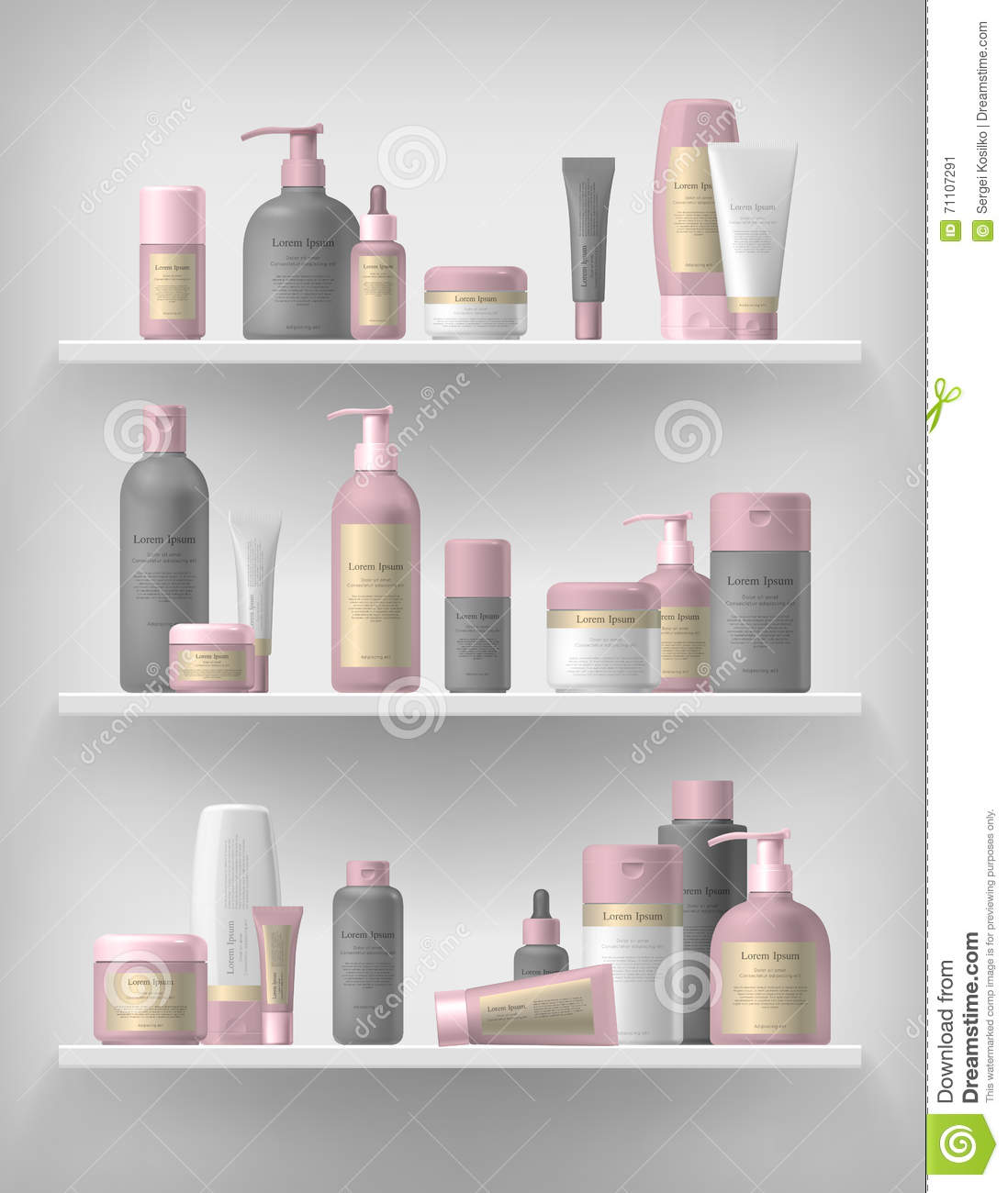 Cosmetic Brand Template. Realistic Bottle Set. Stock Vector ...