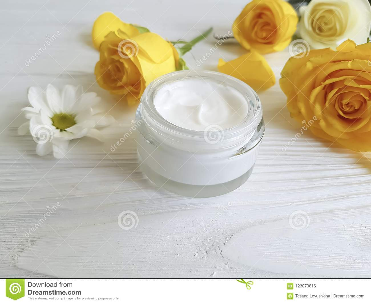 Cosmetic Cream Glass Yellow Rose Ointment Care Revitalize On A