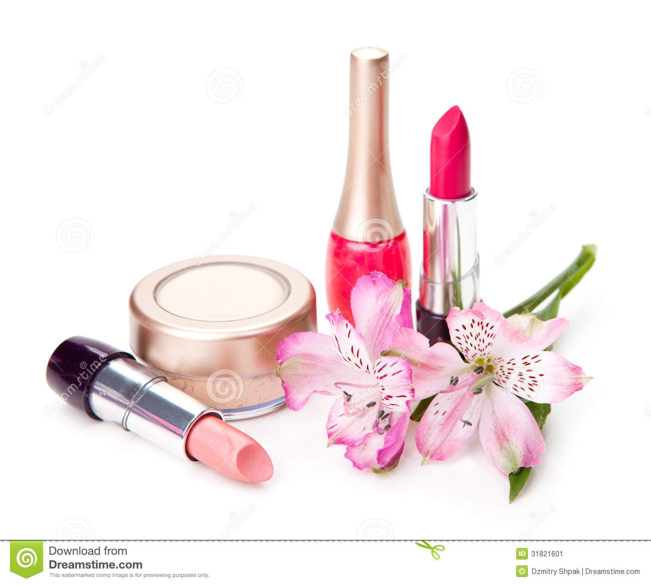 Cosmetic And Flower Stock Image Image