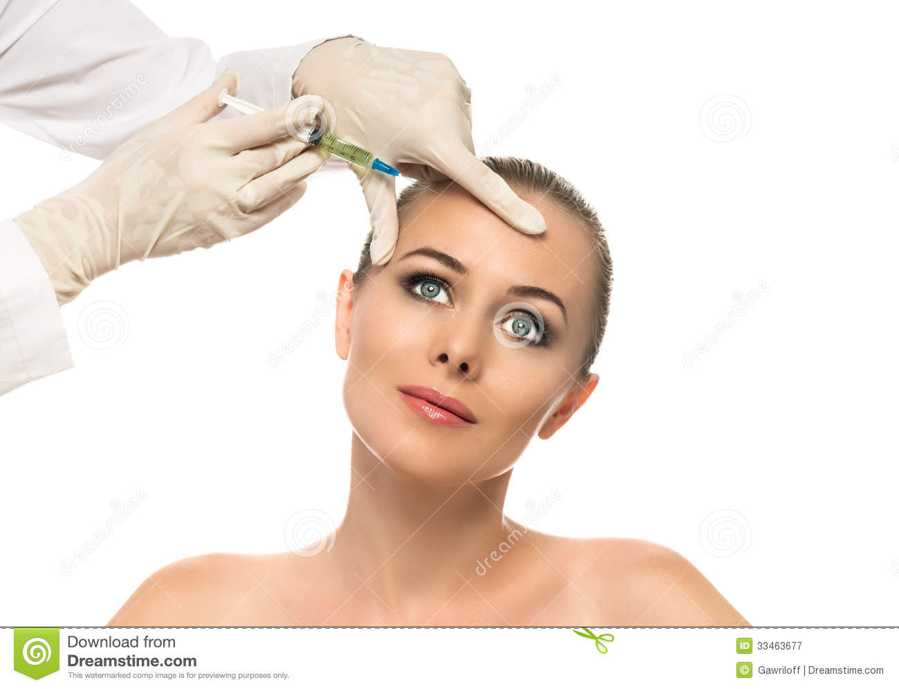 of cosmetic injection of botox to the pretty female face