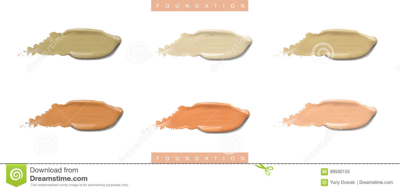 Download Cosmetic Liquid Foundation Cream Set In Different Colour Smudge Smear Strokes. Make Up Smears Isolated On White Stock Image - Image of isolated, makeup: 89500155