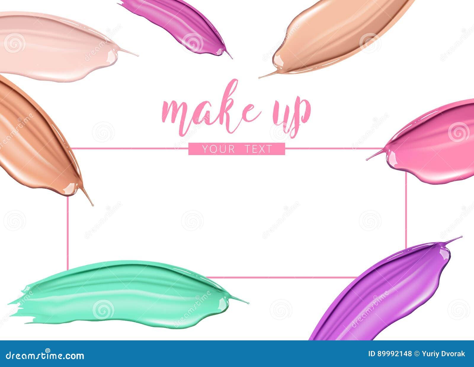 cosmetic liquid foundation and lipstick smudge smear cream strokes