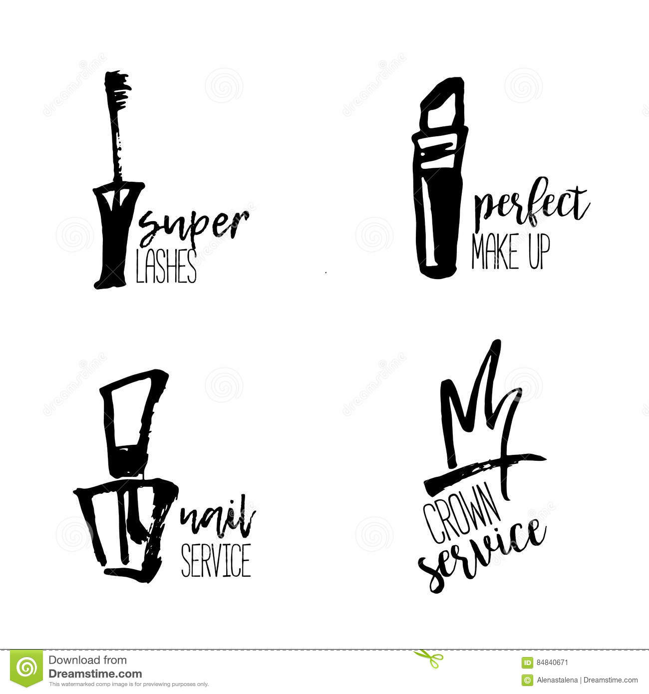 22879ba81a8 Cosmetic logo in hand drawn style, makeup, for beauty salon, stylist vector  branding design with lipstick, nail polish, crown, mascara.