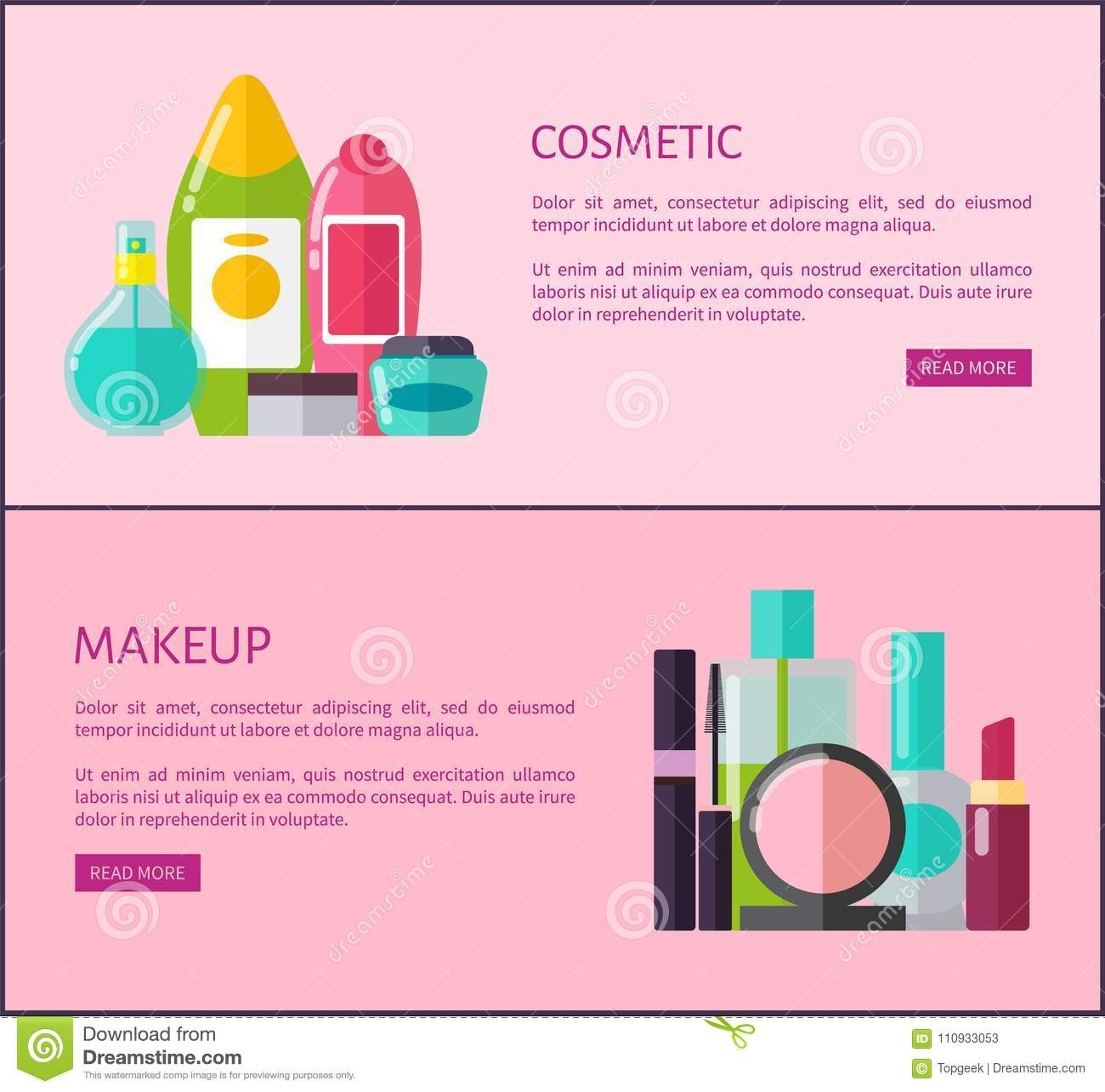 Cosmetic and makeup means Internet promotional pages with bottles and tubes of soft lotions, black mascara and pink blushers vector illustrations.