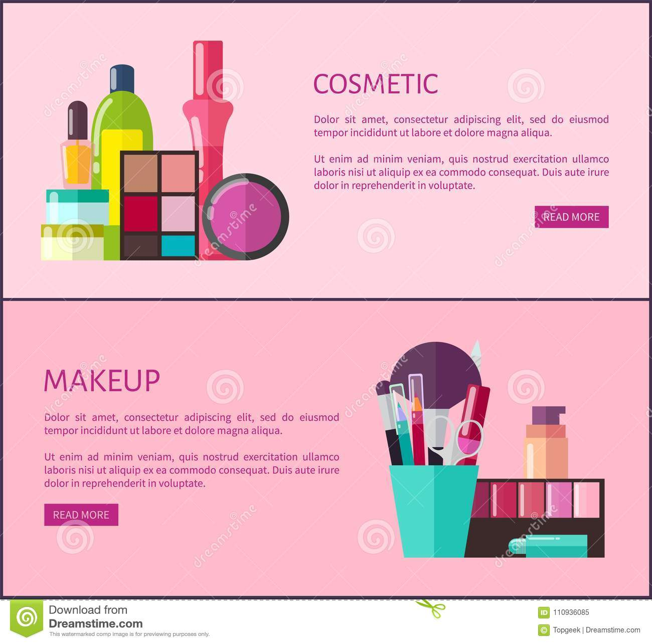 Cosmetic and makeup, set of web pages with headlines and text, cup with brushes and scissors, palette and eyeshadow, on vector illustration