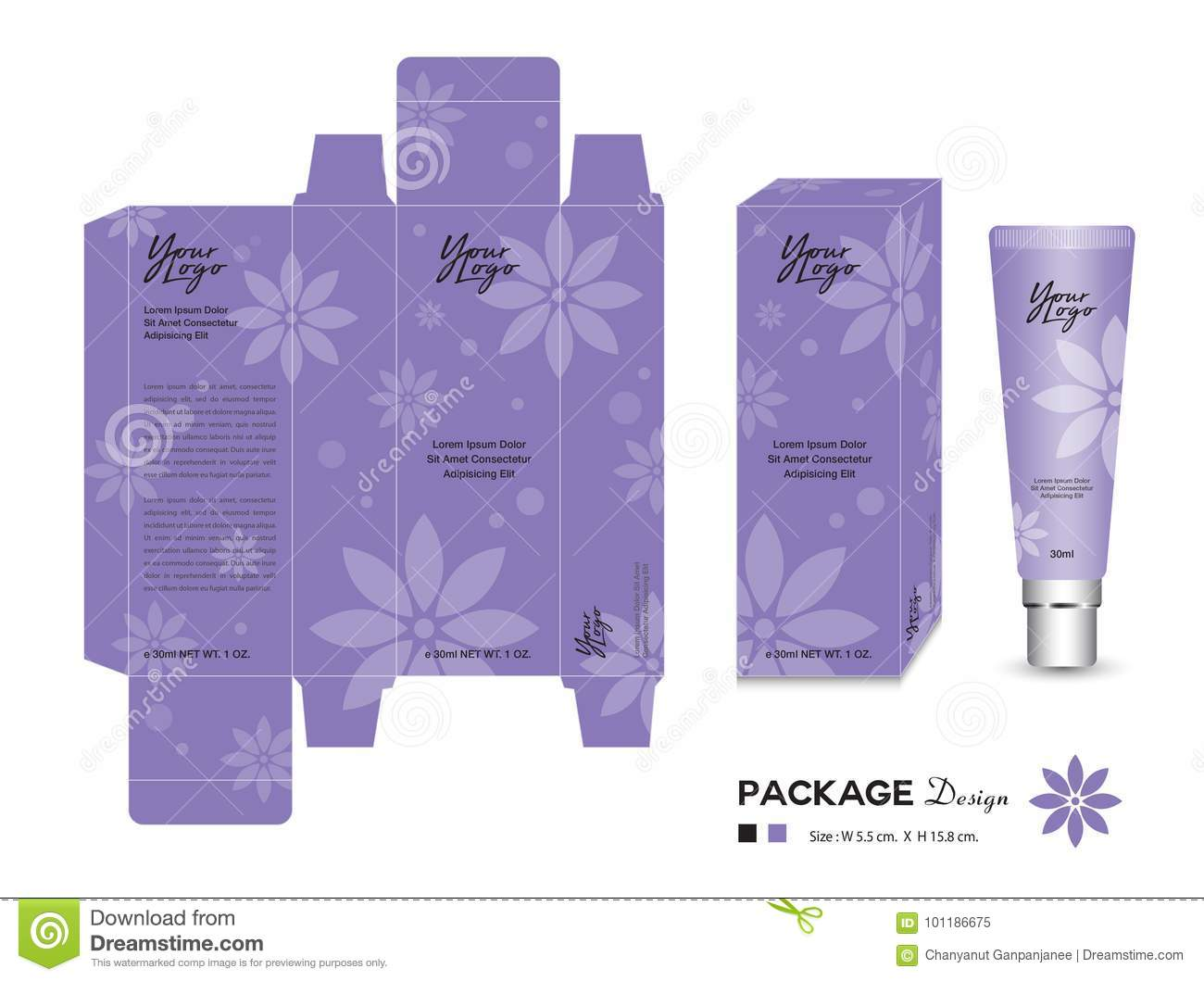 Cosmetic Packaging Template Vector Illustration  Cream