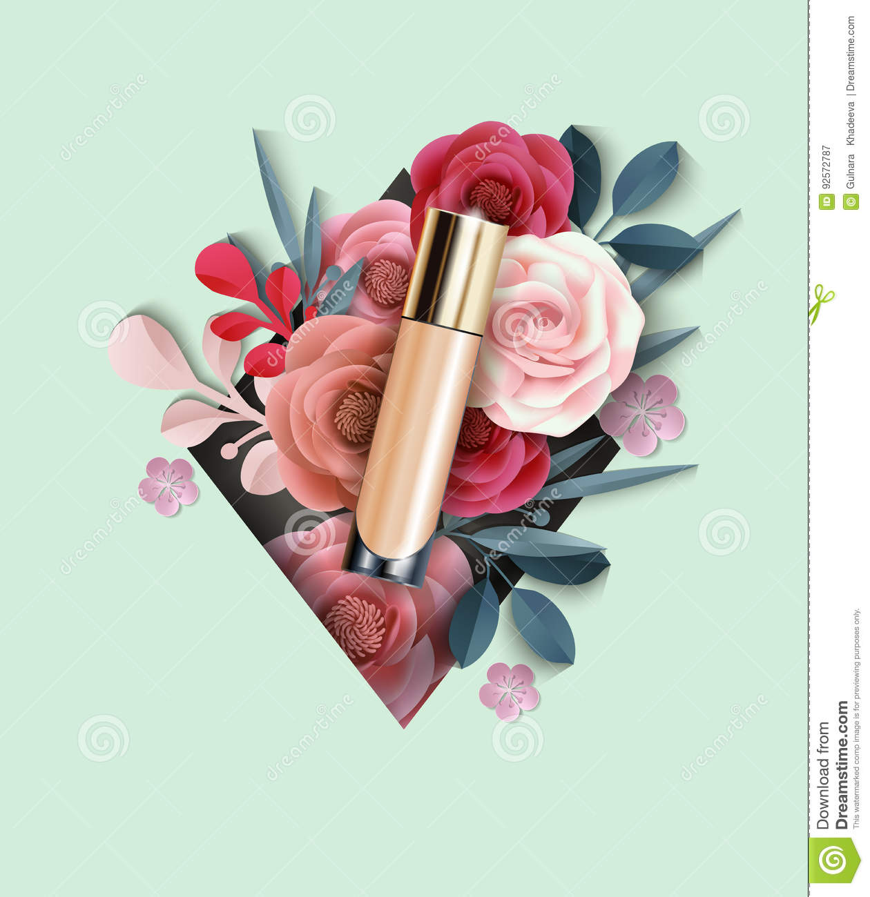 Cosmetic product foundation concealer on the background of download cosmetic product foundation concealer on the background of beautiful paper flowers beauty izmirmasajfo
