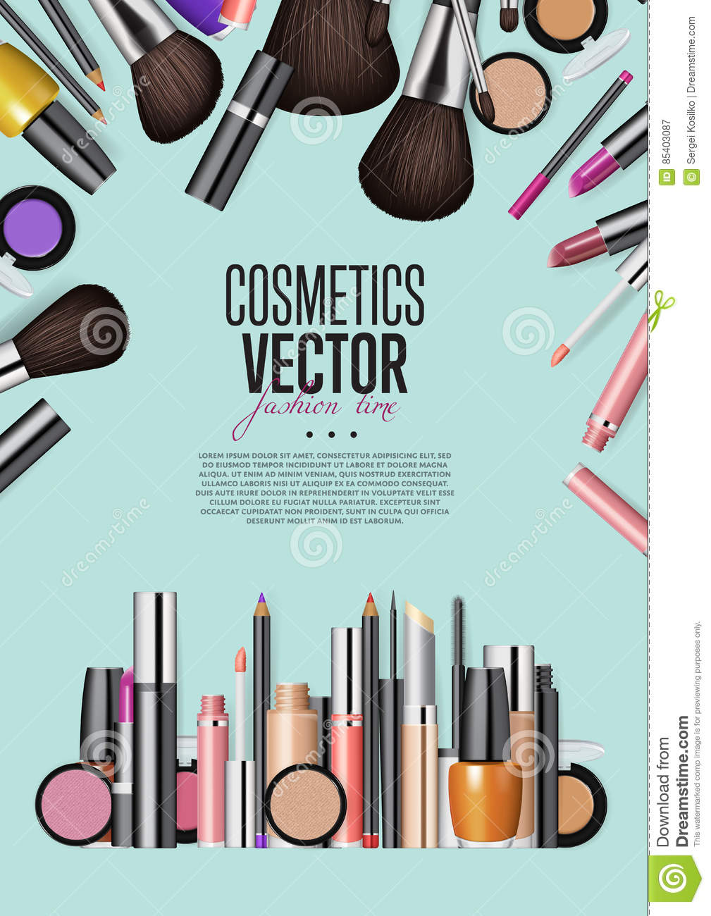 Cosmetic Products Assortment Realism Vector Banner Stock Vector Illustration Of Pencil Cosmetology 85403087