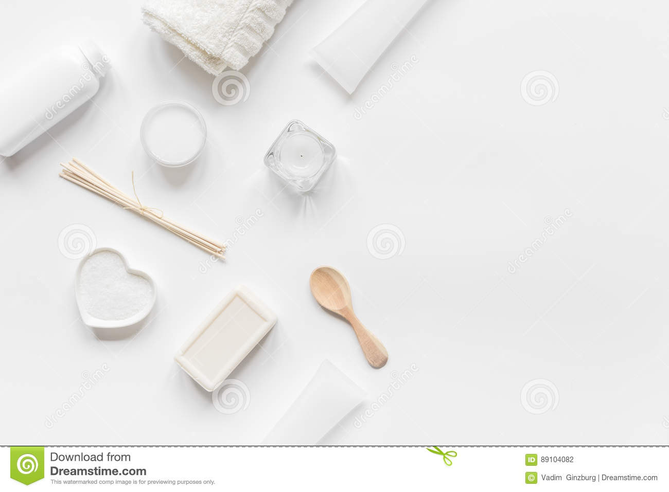 Monochrome Cosmetic Set In SPA Concept On White Background ...