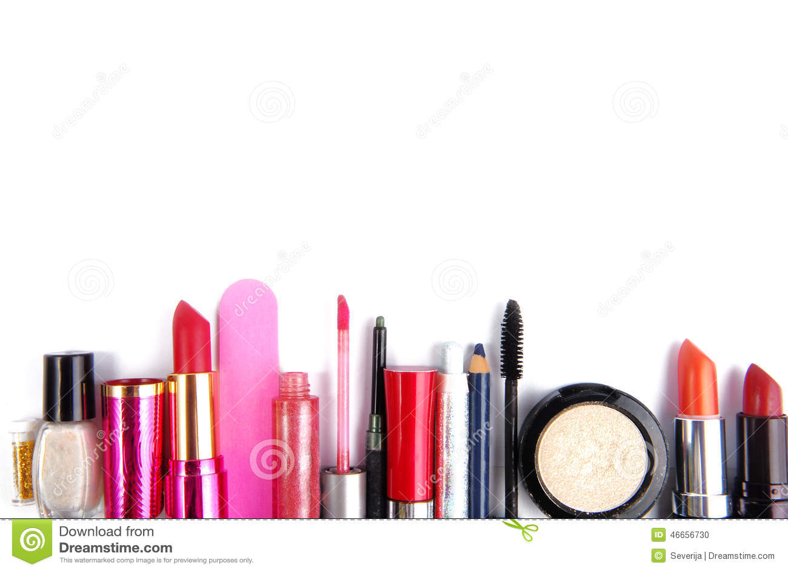 Cosmetic Set Isoalted Frame Border Stock Photo