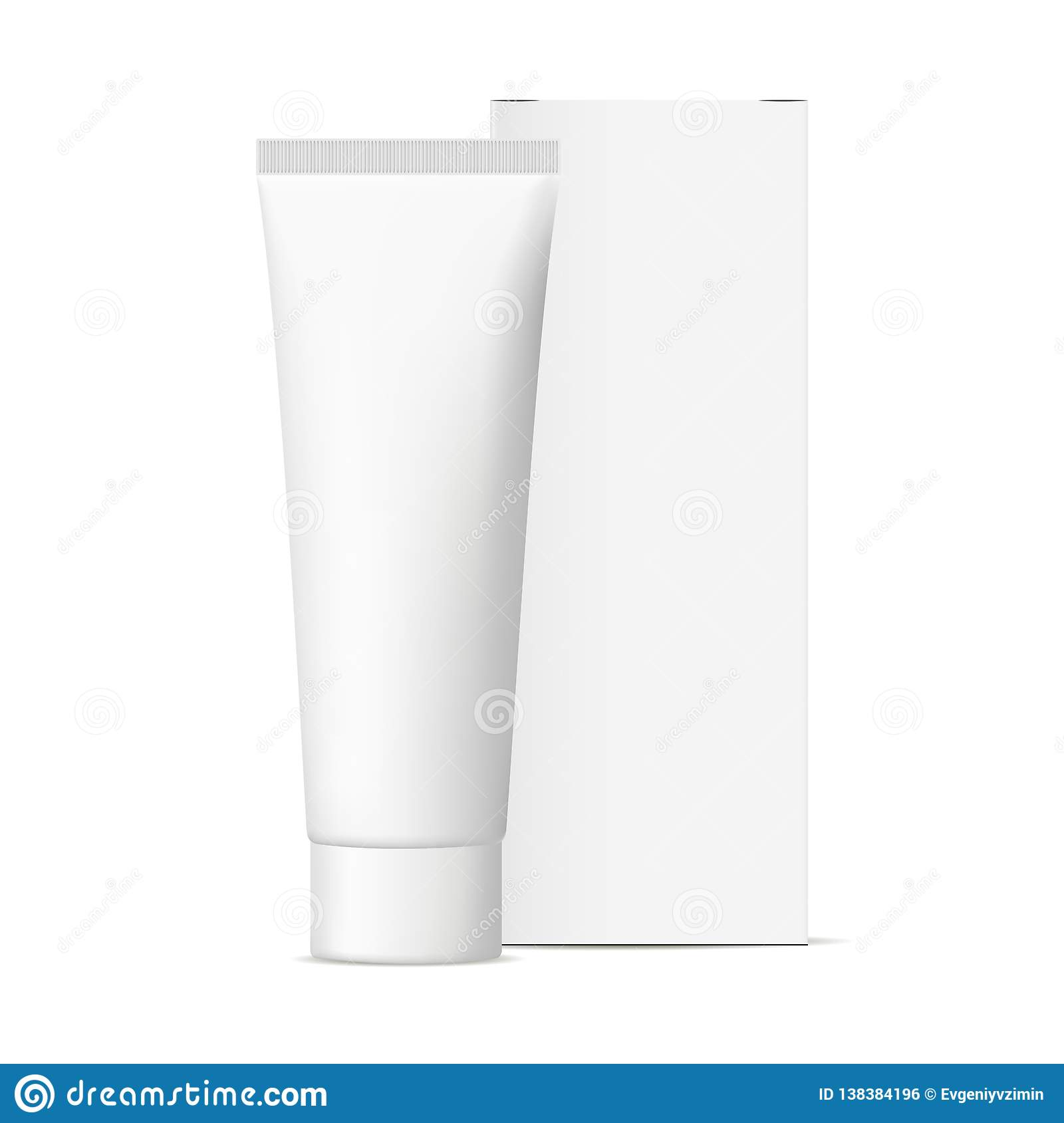 Cosmetic tube with packaging box mockup