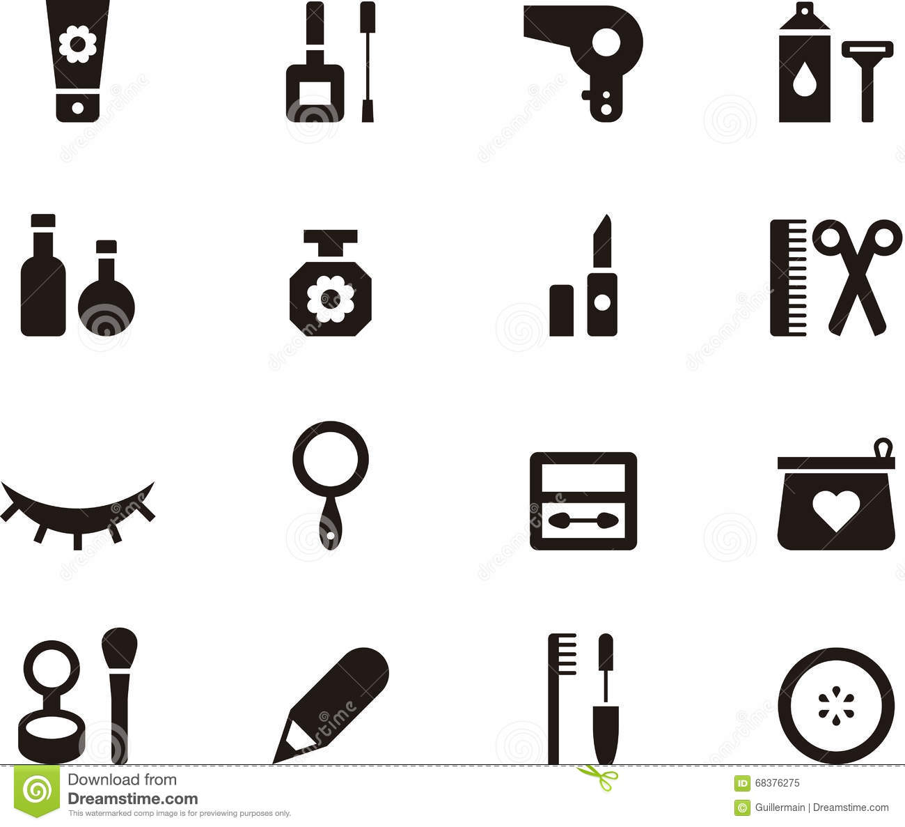 cosmetics beauty and makeup icon set stock vector
