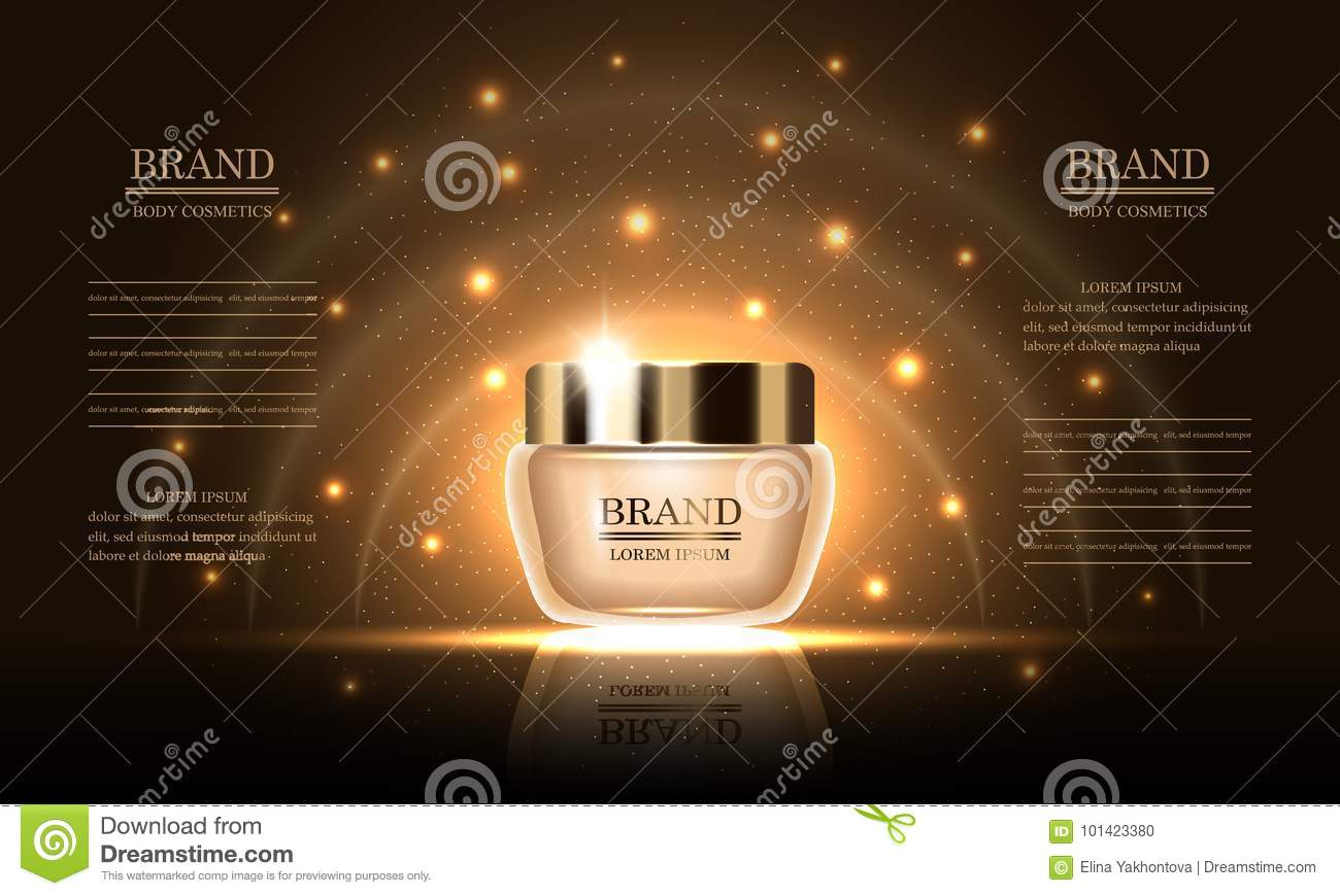 Cosmetics Beauty Series Premium Body Cream For Skin Care On Gold Background Mockup For Design Ads Banner Vector Illustration Stock Vector Illustration Of Illustration Makeup 101423380