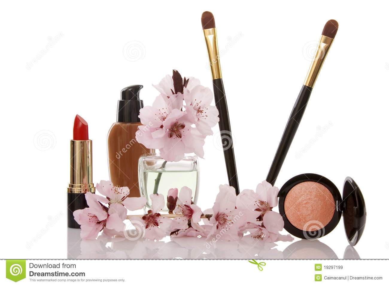Cosmetics And Cherry Flower Royalty Free Stock Image