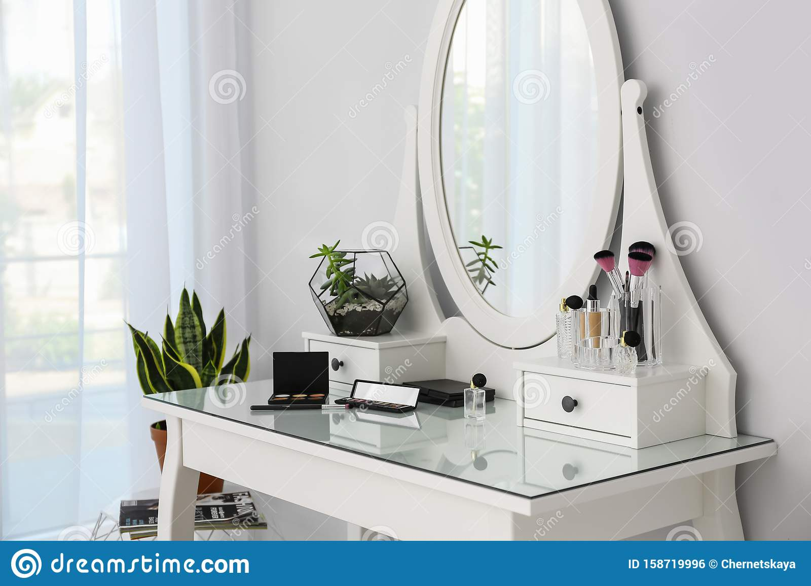 Cosmetics On Dressing Table With Mirror Stylish Room Interior Stock Photo Image Of Cosmetics Room 158719996