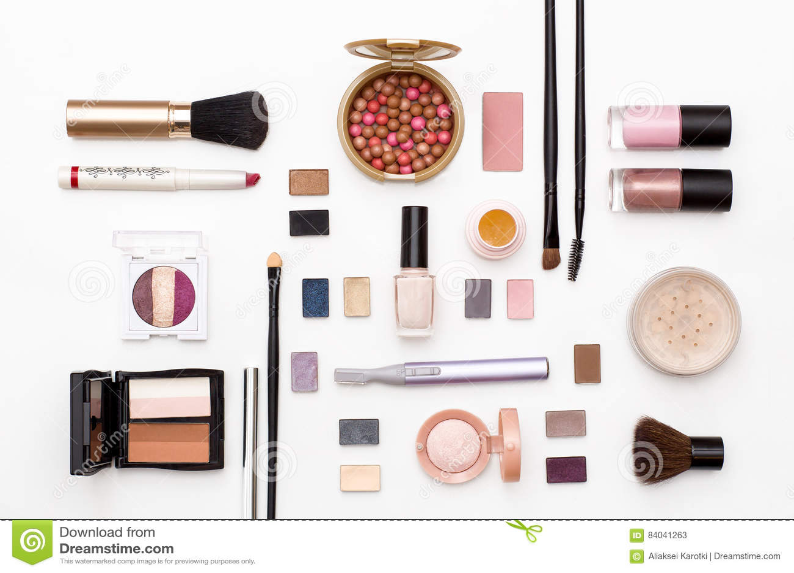 Cosmetics For Facial Makeup Brushes Powder Lipstick Eye Shadow Nail Polish Trimmer And ...