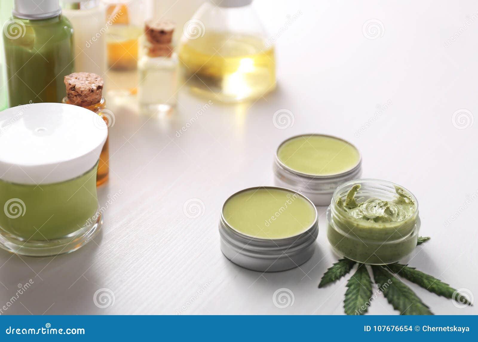 Cosmetics With Hemp Extract Stock Photo - Image of body, leaf: 107676654