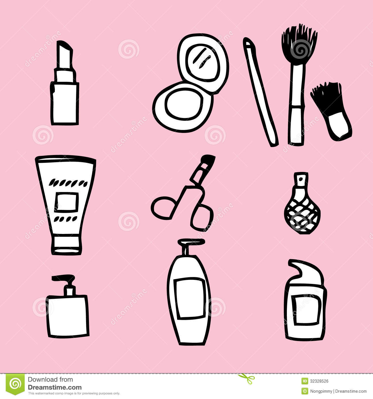 Hand Drawing Line Icons : Cosmetics illustrations