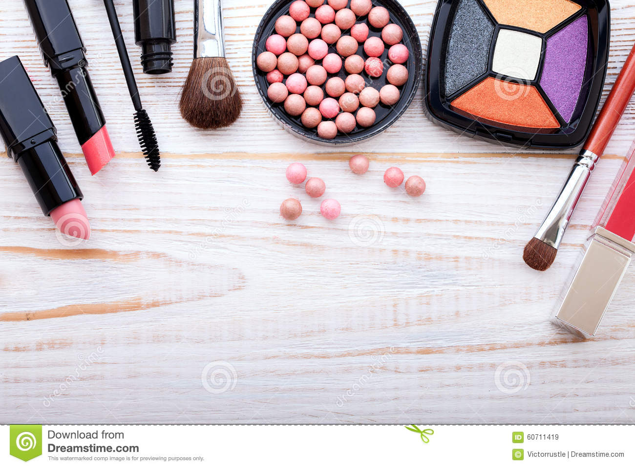 Cosmetics Make Up On White Wooden Background Top Stock