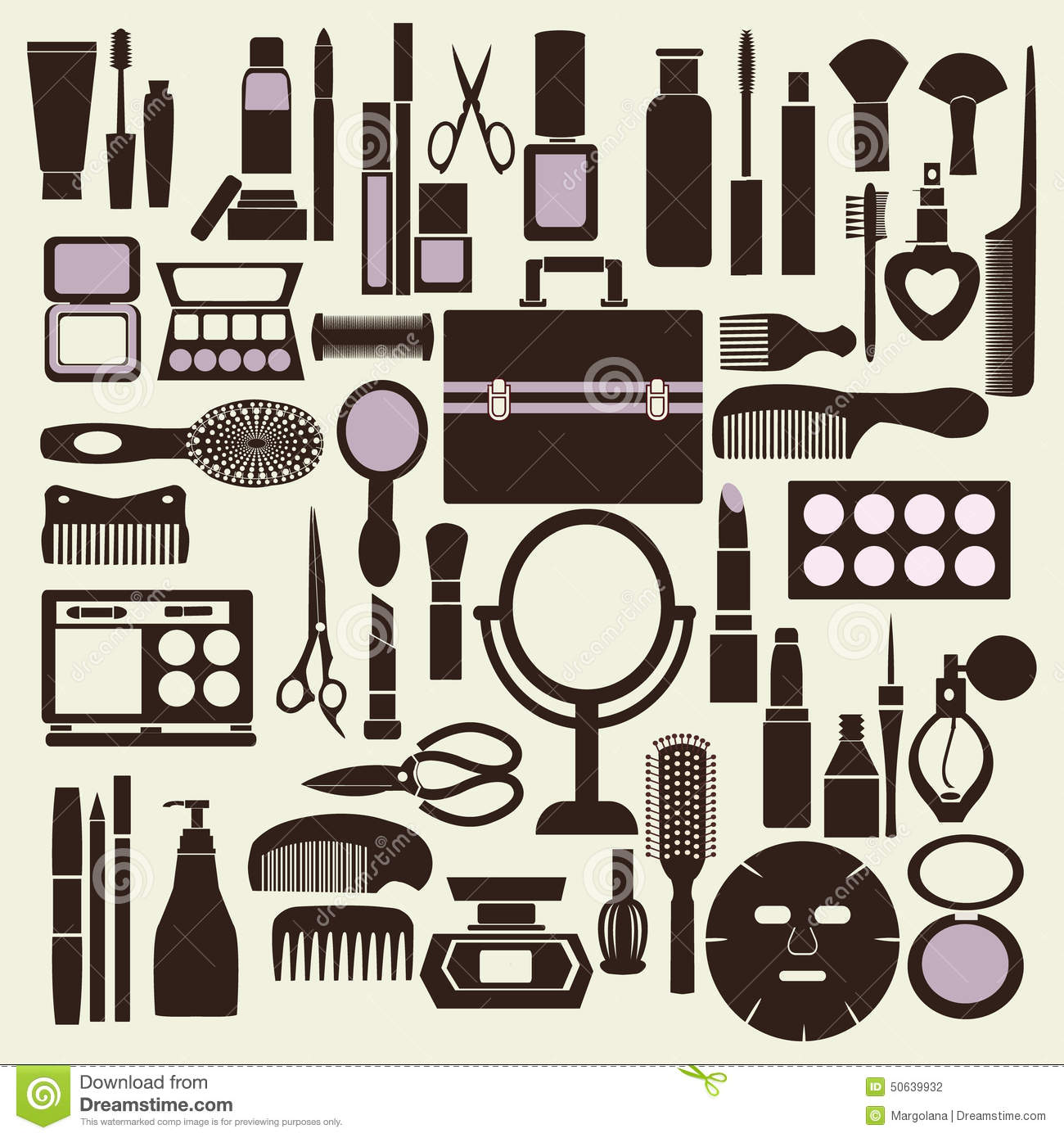 cosmetics and makeup black and white icon set