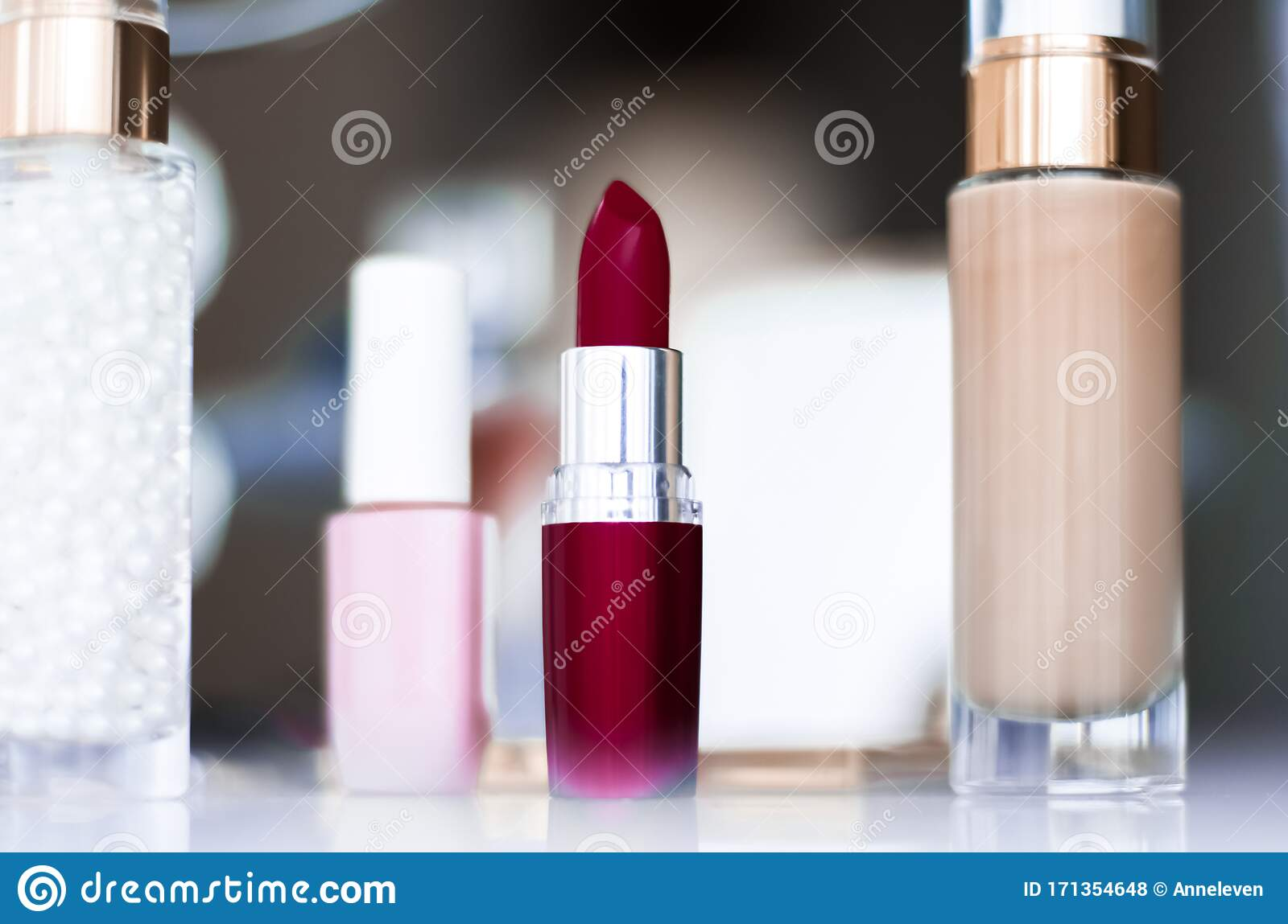 Cosmetics Makeup Products On Dressing Vanity Table Lipstick Foundation Base Nailpolish And Eyeshadows For Luxury Beauty And Stock Photo Image Of Glamour Holiday 171354648