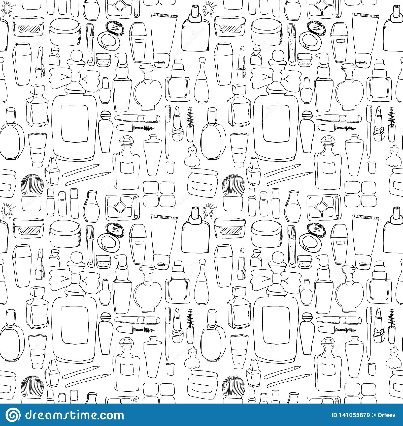Cosmetics pattern seamless. Hand DrawVector Line wallpaper