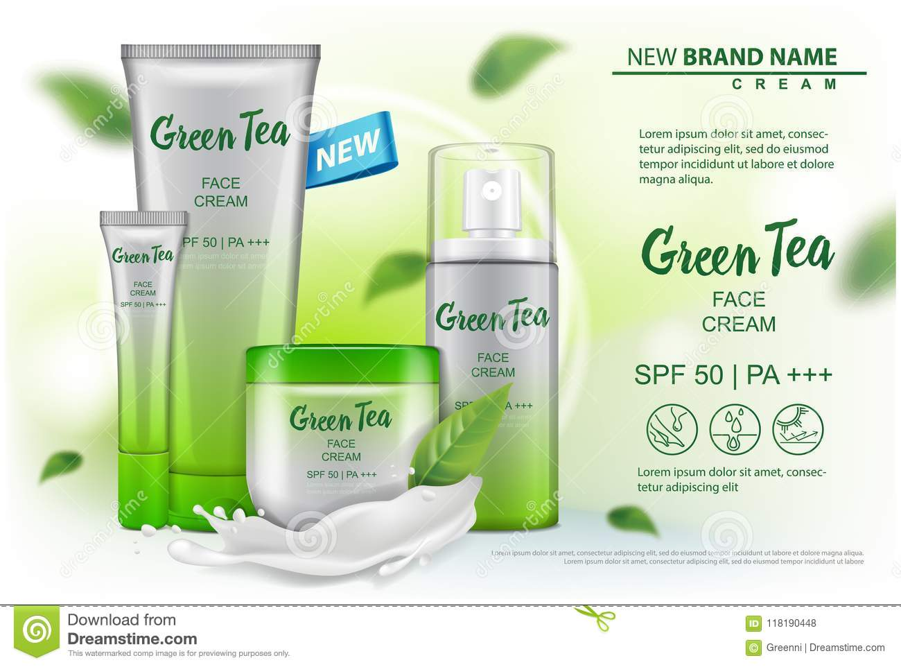 Cosmetics product mock up with green tea extract advertising for catalog, magazine. Vector design of cosmetic package