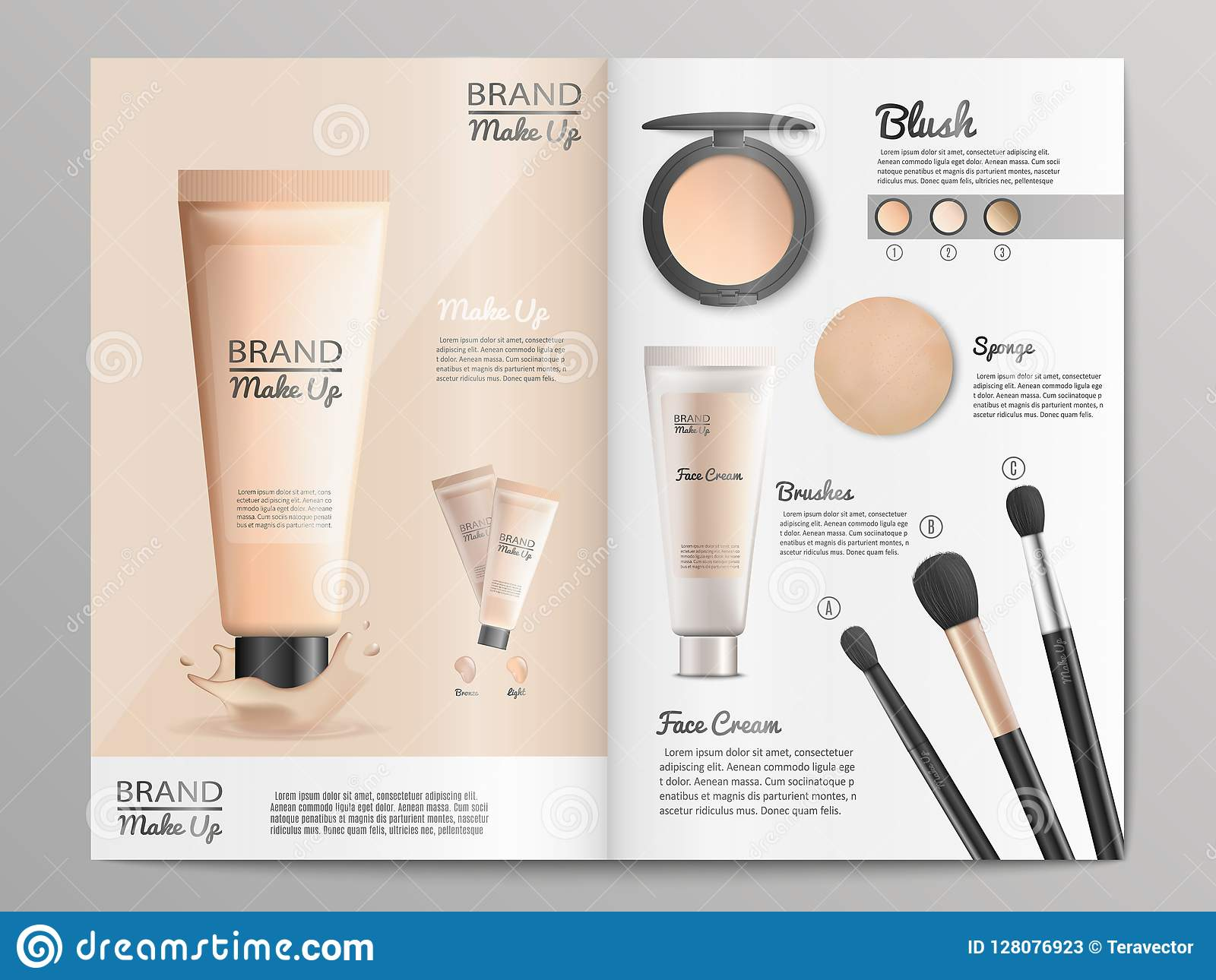 Cosmetics Products Catalog Or Brochure Template Stock Vector