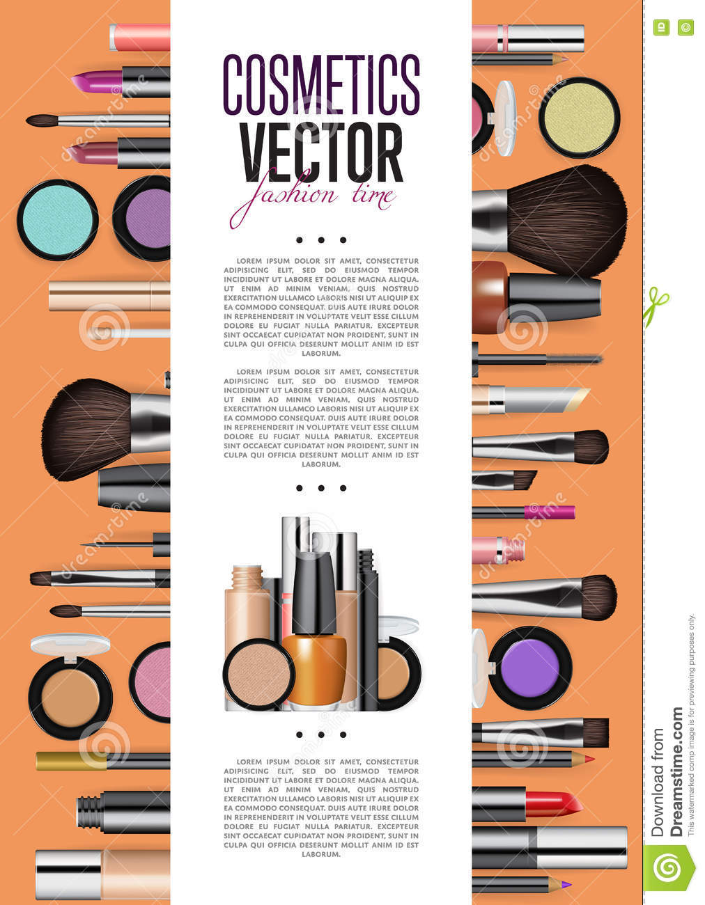cosmetics promo booklet title page vector template stock vector