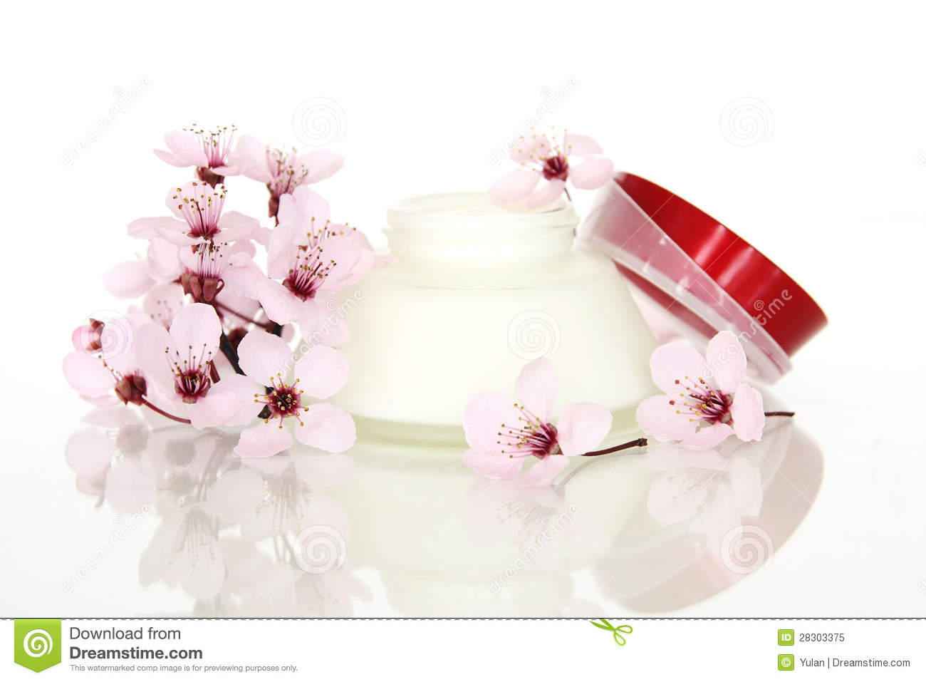 Cosmetics And Sakura Flower Royalty Free Stock Image