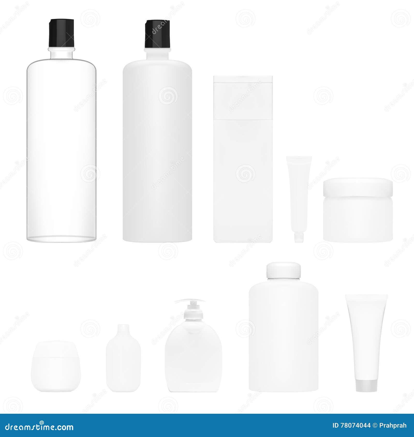 cosmetics set isolated plastic cosmetic bottle beauty product