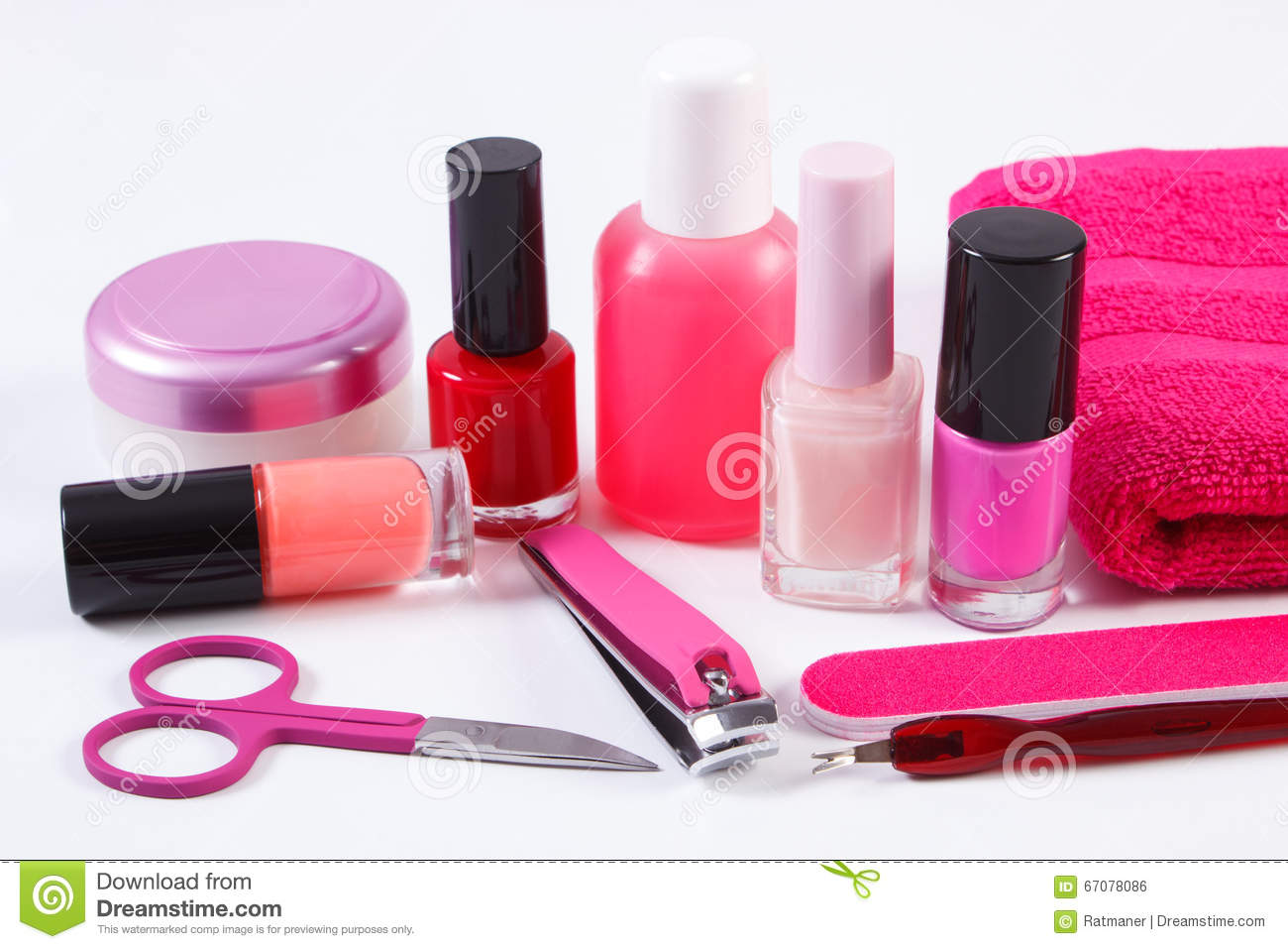 Cosmetics And Set Of Manicure Or Pedicure Tools, Concept Of Nail ...
