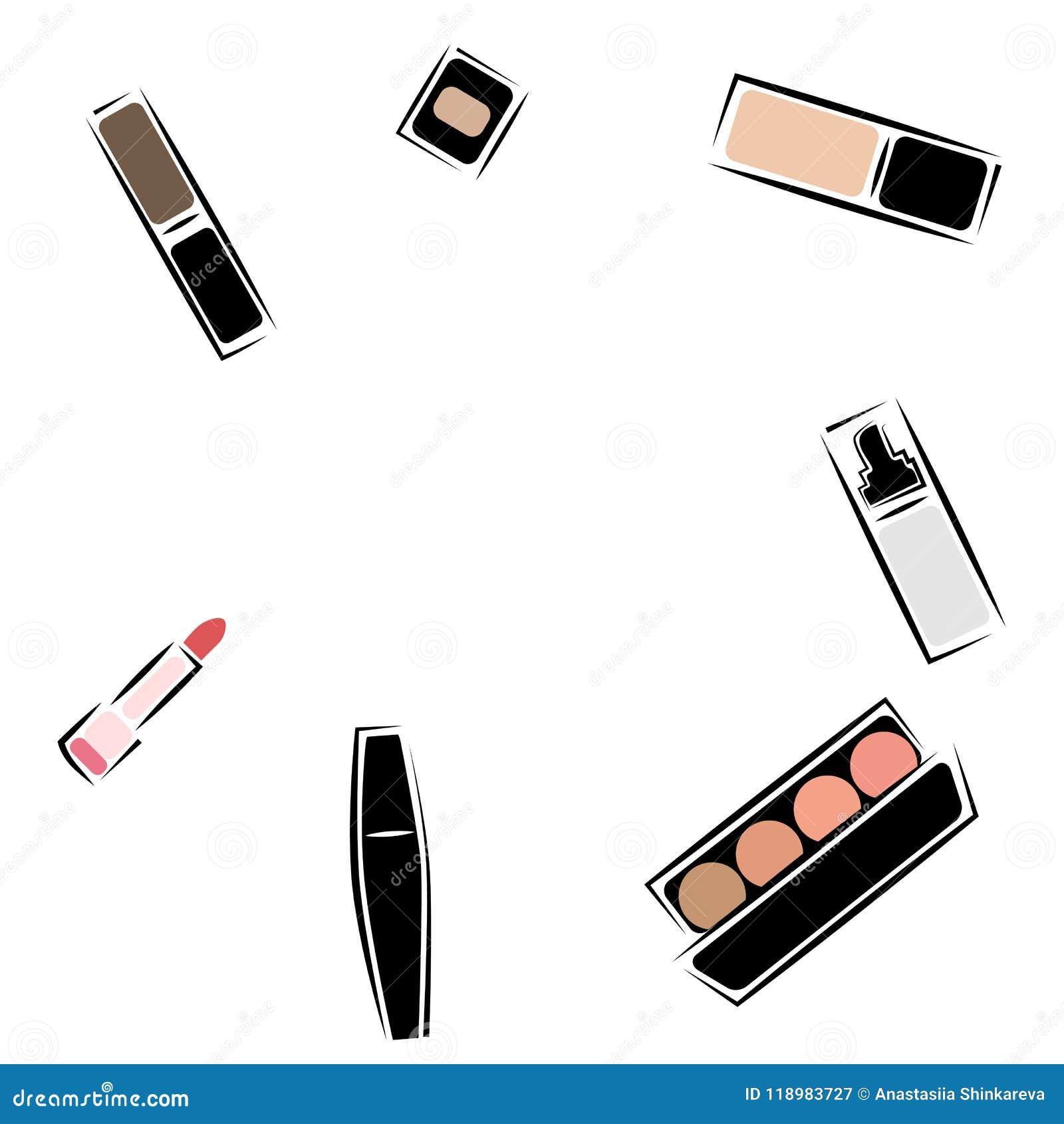 Cosmetics Set Sketch Vector Set Makeup Stock Vector - Illustration