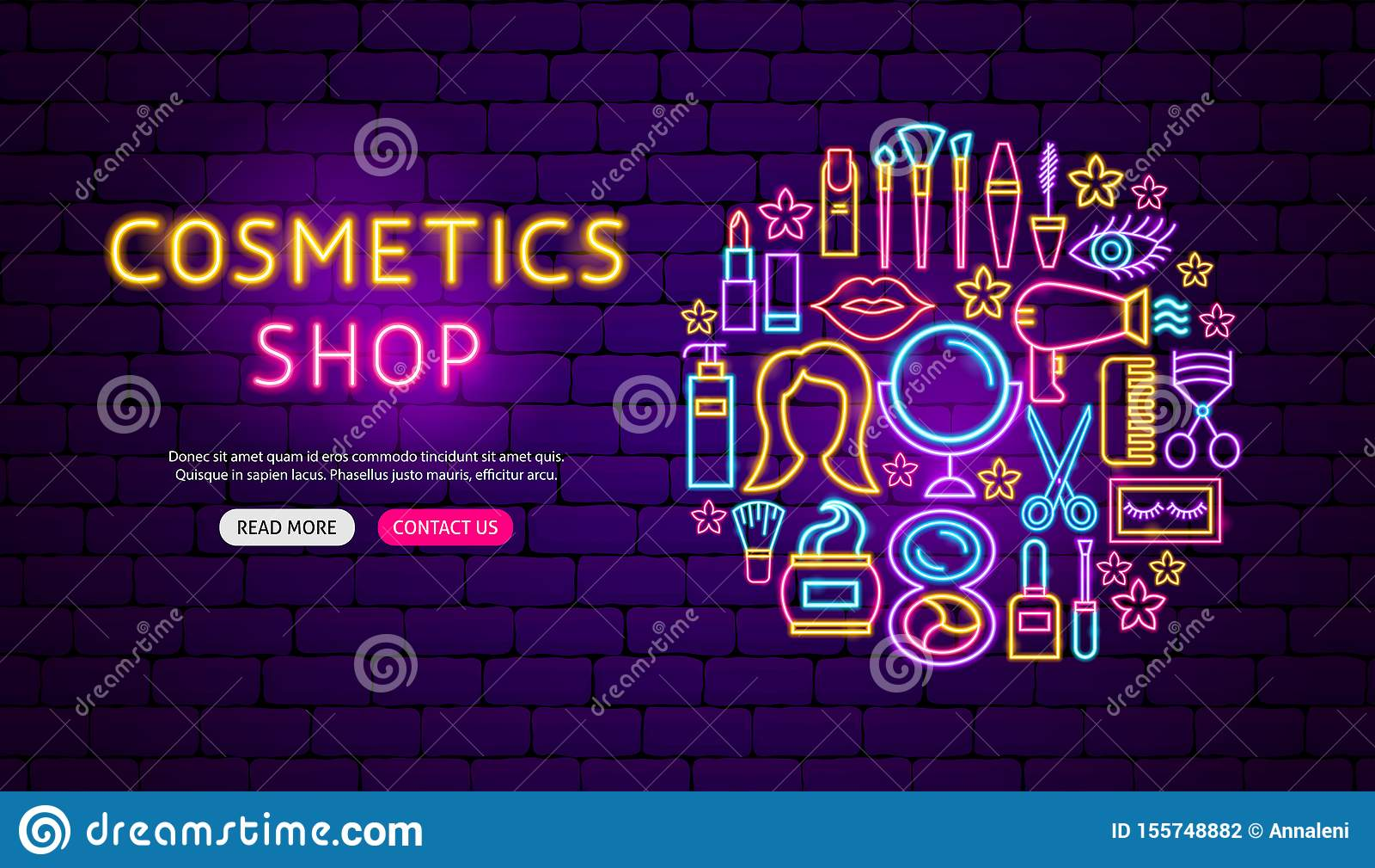 Cosmetics Shop Neon Banner Design Stock Vector Illustration Of Glow Banner 155748882